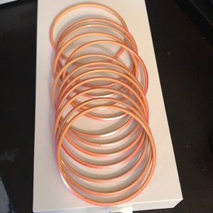 Dozen Indian Inspired Pink Glazed Glass Bracelets